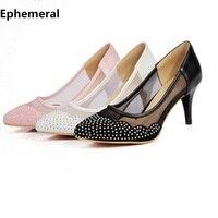 Vrouwelijke puntige toe rhinestone mesh stof ademend vrouwen hoge hak schoenen dunne hakken voor wedding party wit zwart roze maat 43