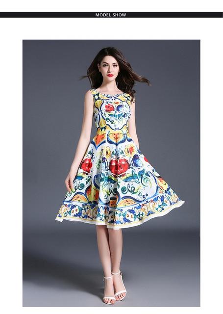Fashion dress sexy summer O-neck Tank flower print  party dress elegant female Slim dresses