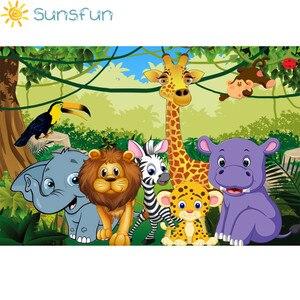 Image 2 - Sunsfun bezszwowe dżungla Safari tematyczne zwierzęta baner urodzinowy zdjęcie tło dziecko dzieci portret tło imprezowe