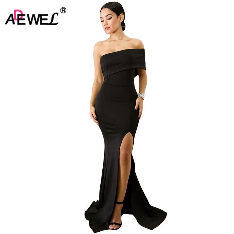 ADEWEL Women Off Shoulder One Sleeve Formal Party Dresses Vintage Elegant Mermaid Sexy High Slit Long Dress Vestidos Robe Femme
