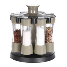 8Pcs Kitchen Tools Rotating Spices Bottles Cooking Tools Acrylic Seasoning Rack Salt Pepper Storage Organizer Home Kitchen Set