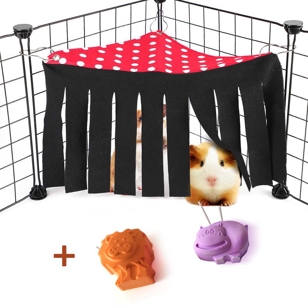 Estera de tienda de hámster para mascotas, estera de cama, paño de esquina, borlas, cortina, refugio, mascotas pequeñas