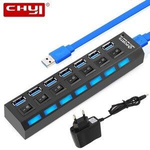 USB chyi 3,0 концентратор USB-A до 7 портов USB3.0 с DC 5 В/2A питание светодиодный переключатель включения/выключения USB C разветвитель адаптер для ПК ноу...