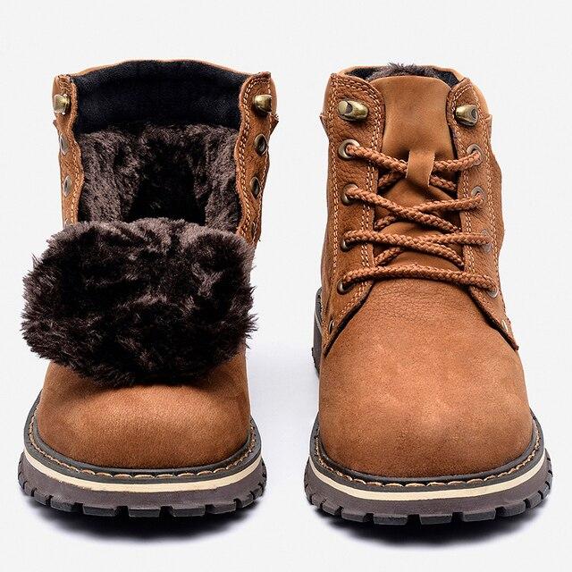 Полная кожа зерна Мужские Зимние Сапоги размер 38 ~ 50 ручной работы Теплая мужская зимняя обувь #8988