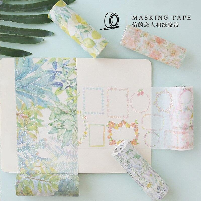 10 Cm Wide Tropical Forest Plant Flower European Washi Tape DIY Scrapbooking Sticker Label Masking Tape School Office Supply