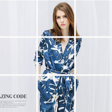 2018 new spring woman silk pajamas suit long sleeves superior quality