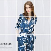 Новинка весны 2018, женская шелковая пижама, костюм с длинными рукавами, превосходное качество