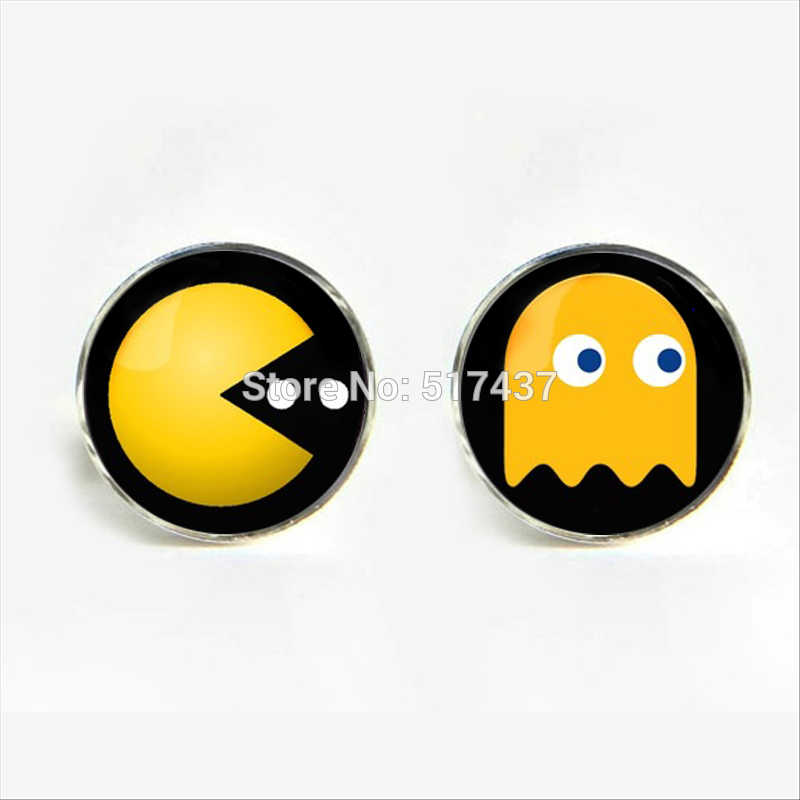J-870 wholesale Pacman Cufflinks Pacman Cuff link Shirt Cufflinks For Mens Game Round Cuff Links