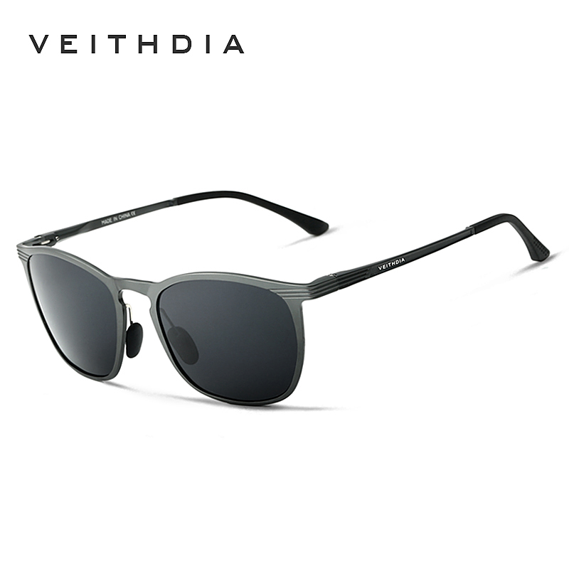 VEITHDIA Square Aluminum Magnesium Sunglasses for Men Black Thin Polarized Driving Sun Glasses Masculino Oculos 6630