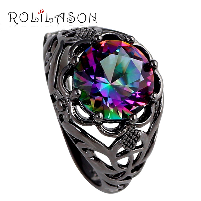 Handmade Mysterious Rainbow Mystic Zircon Silver Stamped AAA Ring for Women sz 6 7 8 9