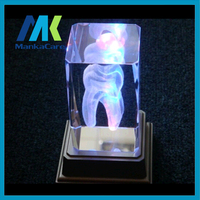 Colorful tooth 3D Teeth shape lamp Dentist Crystalline Tooth handicraft Dental clinic Laser Etched Tooth Crystal Glass Cube