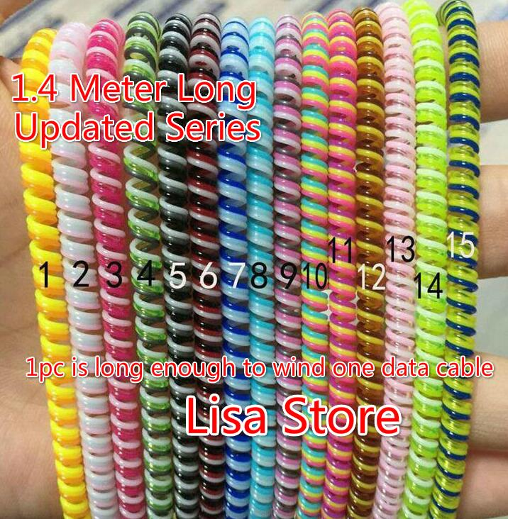 4pcs/lot 120CM 140CM Triple Colors Spring Protective sleeve Mobile Tablet Spiral Cord Protector for Phone Charger Earphone Cord