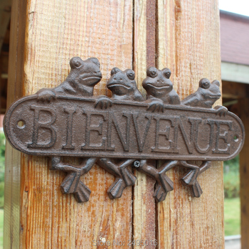 Cast Iron Antique Style Frogs WELCOME Plaque Garden Sign Wall Decor Best Selling