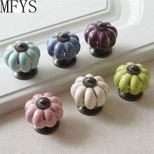 Pumpkin Knobs Kitchen Cabinet Dresser Knob Drawer Pulls Ceramic Handles Blue Purple Green Pink  Decor Hardware