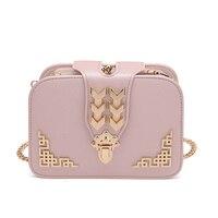 Бренд Для женщин Курьерские сумки искусственная кожа Сумка женская цепь сумка женская через плечо маленькая сумка розовая сумочка Bolsas ...