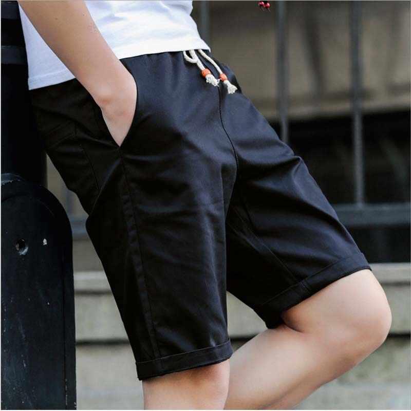 Горячая Распродажа летние шорты мужские повседневные 100% хлопок однотонные дышащие пляжные шорты мужские удобные короткие Masculino большие размеры M-5XL
