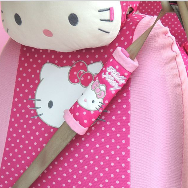 2 pcs/pair Lovely Pink Hello Kitty Auto Car Seat belt Belt Cover Shoulder Pad Safety Sets Supplies