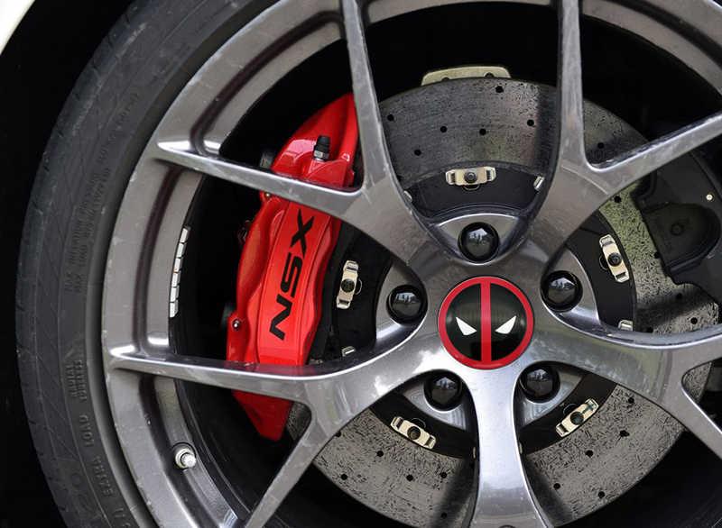 4x56,5 мм, логотип Дэдпул, автомобильная шина, колпачок для ступицы колеса, эмблема, наклейка, значок, наклейка, креативные узоры, стикер для крышки