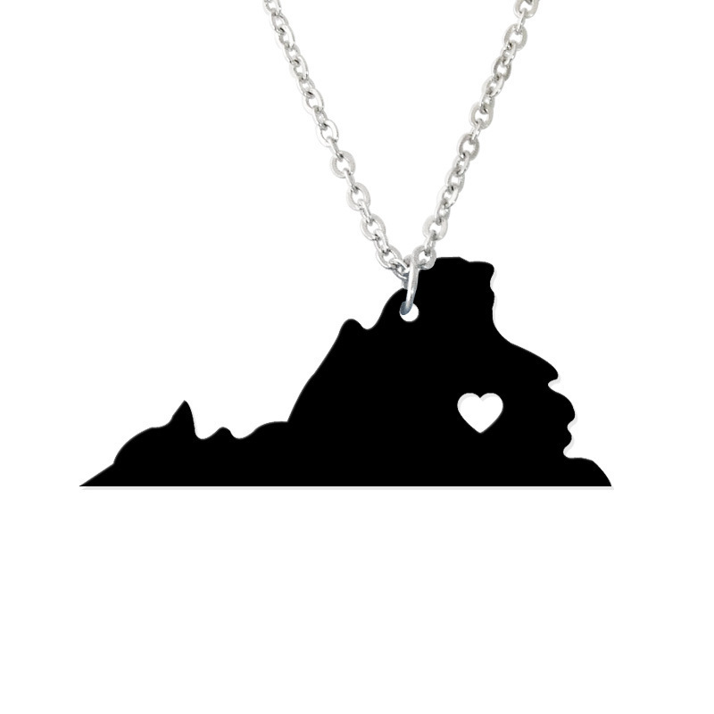 Custom Map Necklace -I heart Virginia Map Pendant - State Charm TN Map Heart necklace-Personalized jewelry