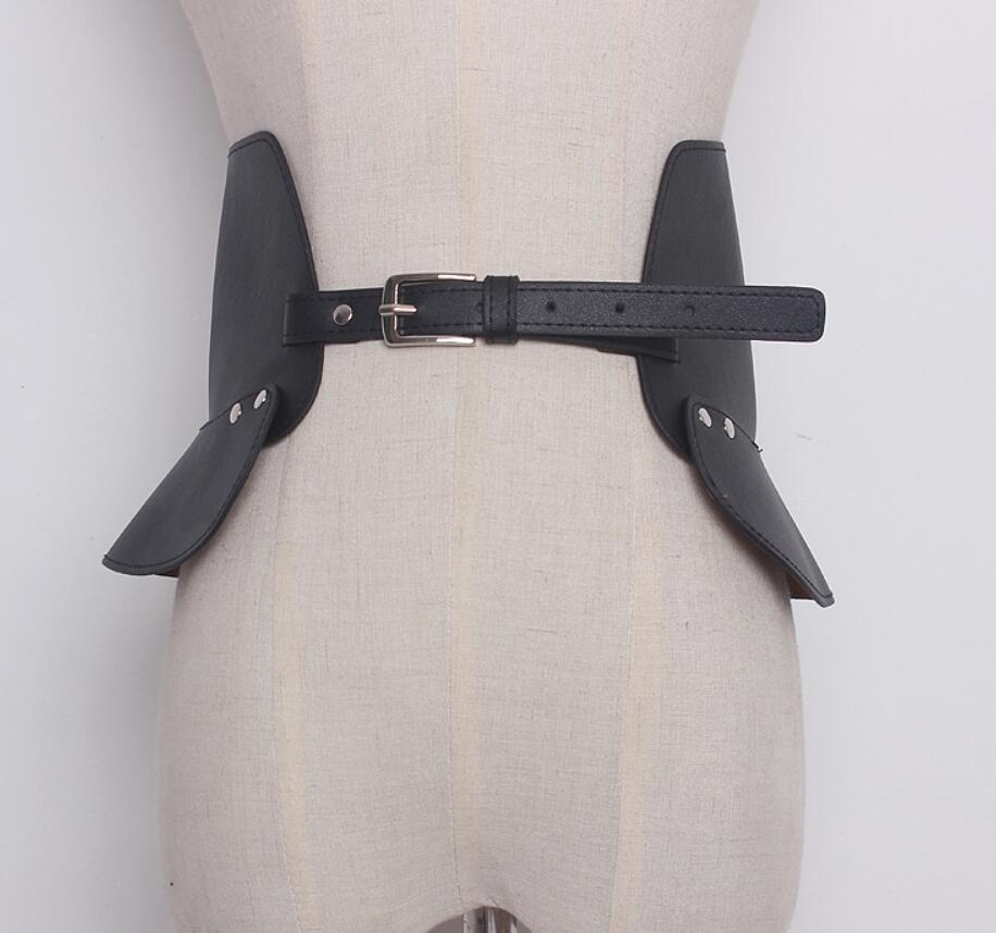 Women's Runway Fashion PU Leather Punk Cummerbunds Female Dress Corsets Waistband Belts Decoration Wide Belt R1416