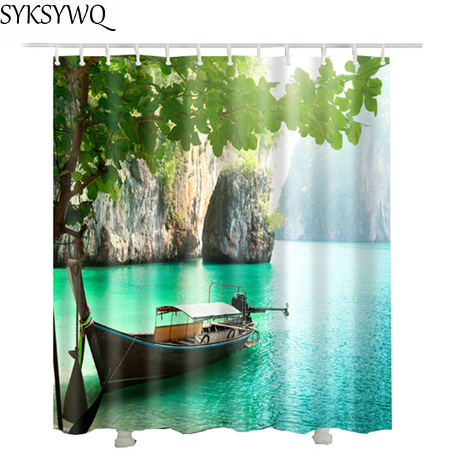 Boat Lake Shower Curtain Bath Waterproof Fabric Polyester Drop Shipping Duschvorhang Curtains Bathroom
