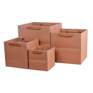 Image 4 - 100 יח\חבילה 4 צבעים כיכר פירות פרחים אריזת שקית נייר עם ידית כיכר תחתון קראפט שקית נייר מתנת תיק 4 גודל