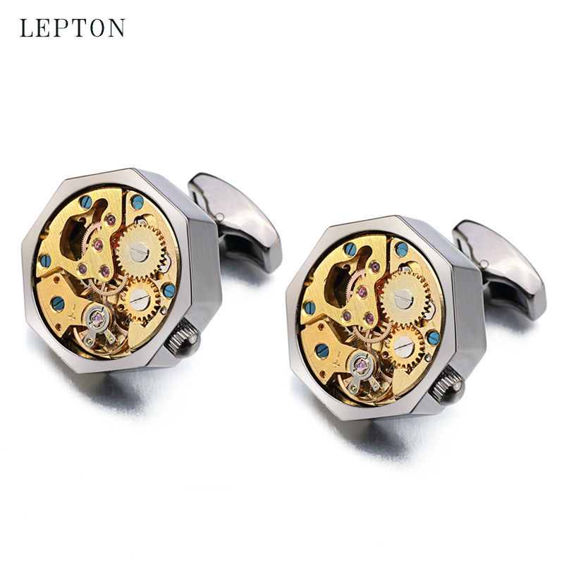 Lepton Gold Watch Movement Cufflinks for immovable Stainless Steel Steampunk Gear Watch Cuff links for Mens Relojes gemelos