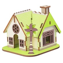 House DIY toy 3D wooden three-dimensional jigsaw puzzle laser cutting processing DIY handmade toys цена