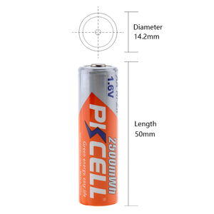 Image 5 - 8Pcs/PKCELL AA NIZN סוללה 1.6V 2500MWH AA נטענת סוללה 2A סוללות Baterias Bateria 2Pcs AA סוללה להחזיק מקרה תיבה