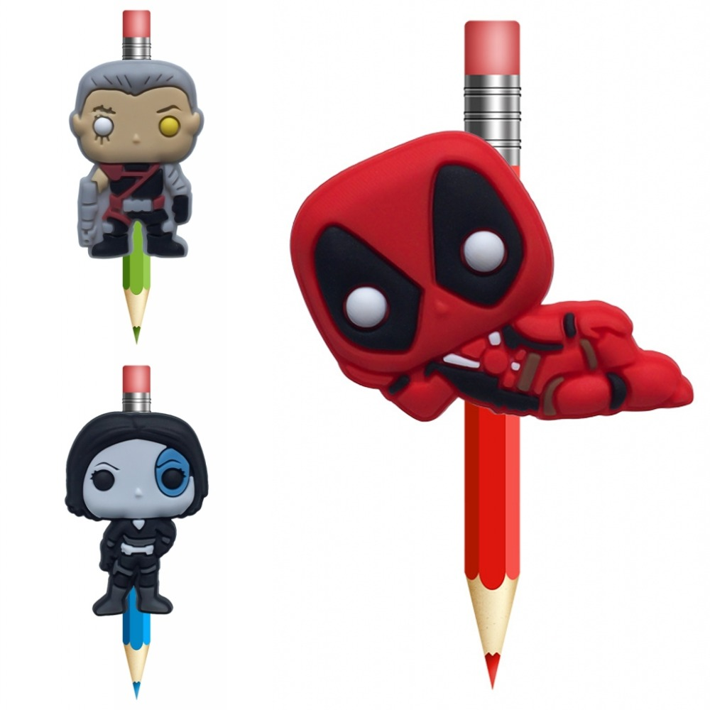 1Pc Deadpool  Pencil Topper Straw Charm Cartoon School Students Supplies Pencil Holder Pen Grip Accessories Children Favor Gifts