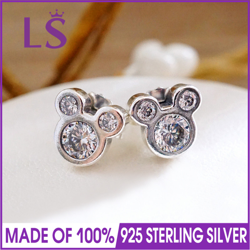 LS High Quality 100% Real 925 Sterling Silver Mick.ey Shape Sparkling Minnie Jewelry Special Store Stud Earrings Fine Jewelry W ...
