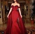 Avondjurk Vermelho Lindo Vestido de Noite Frisado Apliques Sereia Vestidos de Noite Saia Destacável Árabe Dubai Vestido Formal