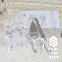 Wedding Favors Gifts (1 Set) Wine Cup Champagne Glasses/Wedding Cake Knife and Server Set Wedding Decoration Mariage Favours