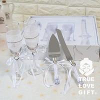 Wedding Favors Quà Tặng (1 Bộ) Rượu Cốc Sâm Banh Kính/Wedding Cake Knife và Server Set Trang Trí Đám Cưới Mariage Favours
