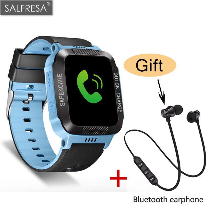 SALFRESA GPS Children Smart Watch With Camera Flashlight Baby Positioning Watch clock SOS Call Location Device