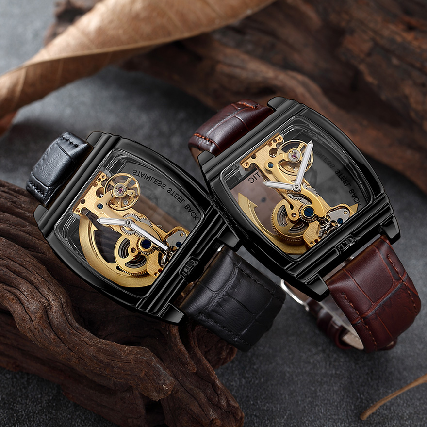 Transparent Automatic Mechanical Watch Men Steampunk Skeleton Luxury Gear Self Winding Leather Men's Clock Watches montre homme 4
