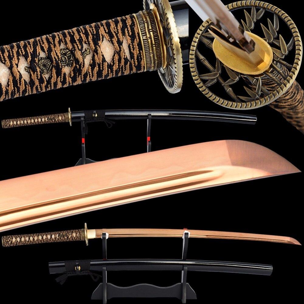 Brandon Épées Acier à Haut Carbone Clay Trempé Samurai Katana Pleine Saveur de Sharp Japonais Épée Électrolytique Golded Pratique Épée