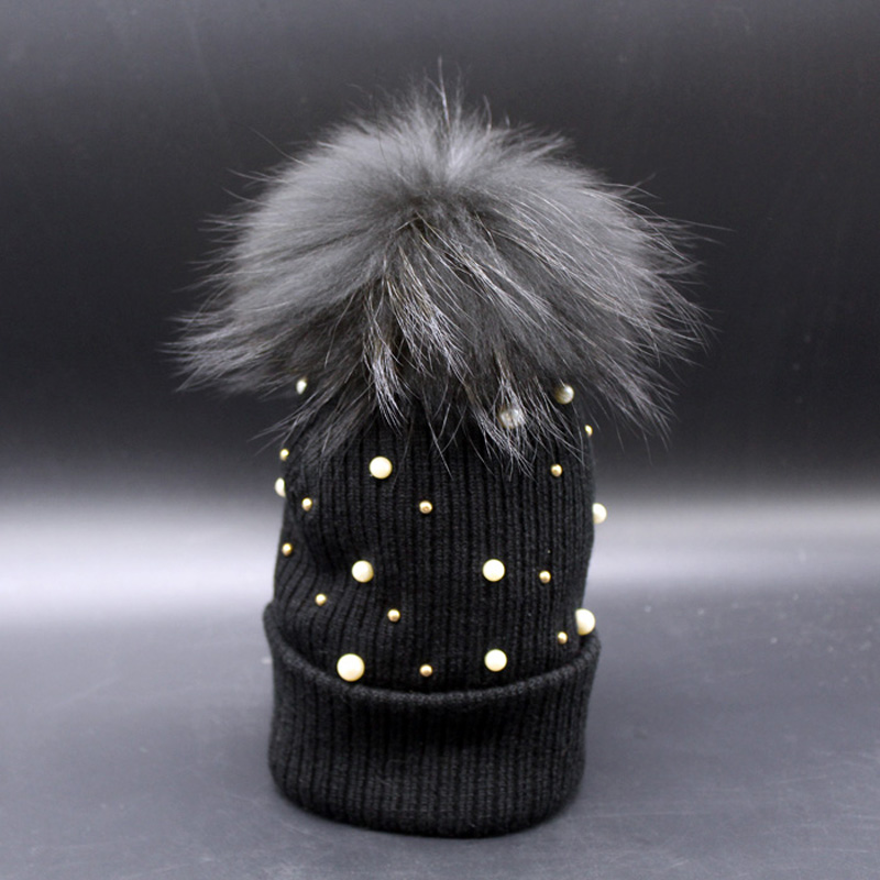 Women Beanie Hats Winter Warm Raccoon Fur Hat Pearl Embed Knitting Cap Female Beanies new soft true raccoon fur dismountable mao mao qiu wool cap female winter thickening warm knitting hat