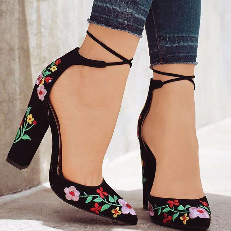 2019 Women Pumps New Women Shoes Embroider High Heels Women Sandals Block Heels Ladies Shoes Comfort Wedding Shoes Plus Size 43