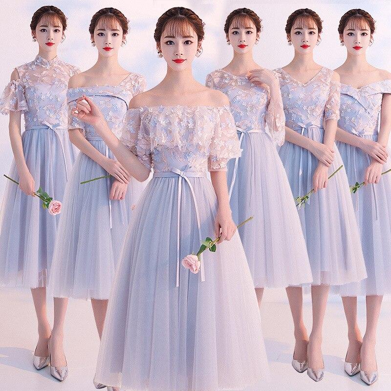 2019 mot épaule gris robe de demoiselle d'honneur était mince version coréenne de la jupe de demoiselle d'honneur femme sœurs groupe robe de mariage