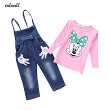 купить girls clothing sets jeans rompers and printed cartoon long sleeve t-shirts autumn kids clothes fashion children clothing sets дешево