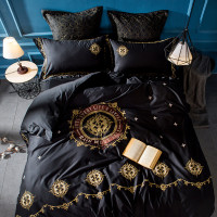 100% Egypt Cotton Embroidery Bedding Set 4/6pcs Quilt Cover black Duvet Cover Bed sheet Fitted sheet Pillowcase King Queen