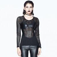 Punk Women's Close fitting Sexy Tee Shirts Black Long Sleeve Net T Shirts Transparent Women Undershirts