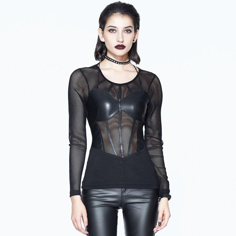 Punk femmes près du corps Sexy t-shirts noir à manches longues Net t-shirts transparents femmes maillots de bain