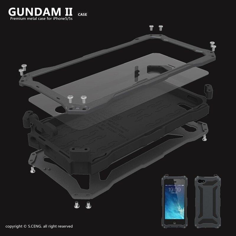 imágenes para Gundam de lujo A Prueba de agua A Prueba de Golpes Armor Estuche rígido de Aluminio del Metal Para el iphone 5 5S SÍ 5C 6 6 s 7 Plus Casos Tapa Templado vidrio
