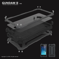 Luxury Gundam Waterproof Shockproof Metal Aluminum Armor Hard Case For iPhone 5 5s SE 5C 6 6s 7 Plus Cover Cases Tempered Glass