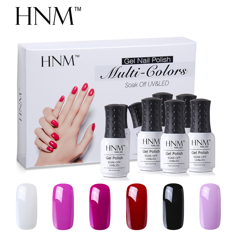 HNM 6 Color Nail Polish Set UV Gel Nail Polish 8ML 6 pcs/lot Soak Off  Gelpolish Paint Nail Art Esmalte GelLak Varnish Nail Kit