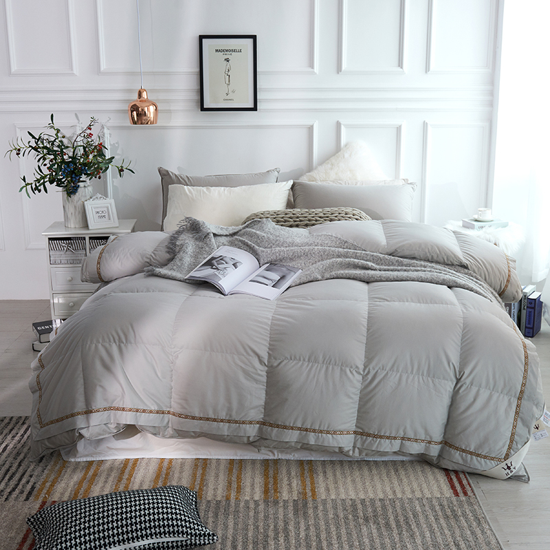 Luxurious 1000 TC 100%Cotton Cover Goose Down Comforter Duvet cover Insert Queen King size White Pink Grey Comforter All Season