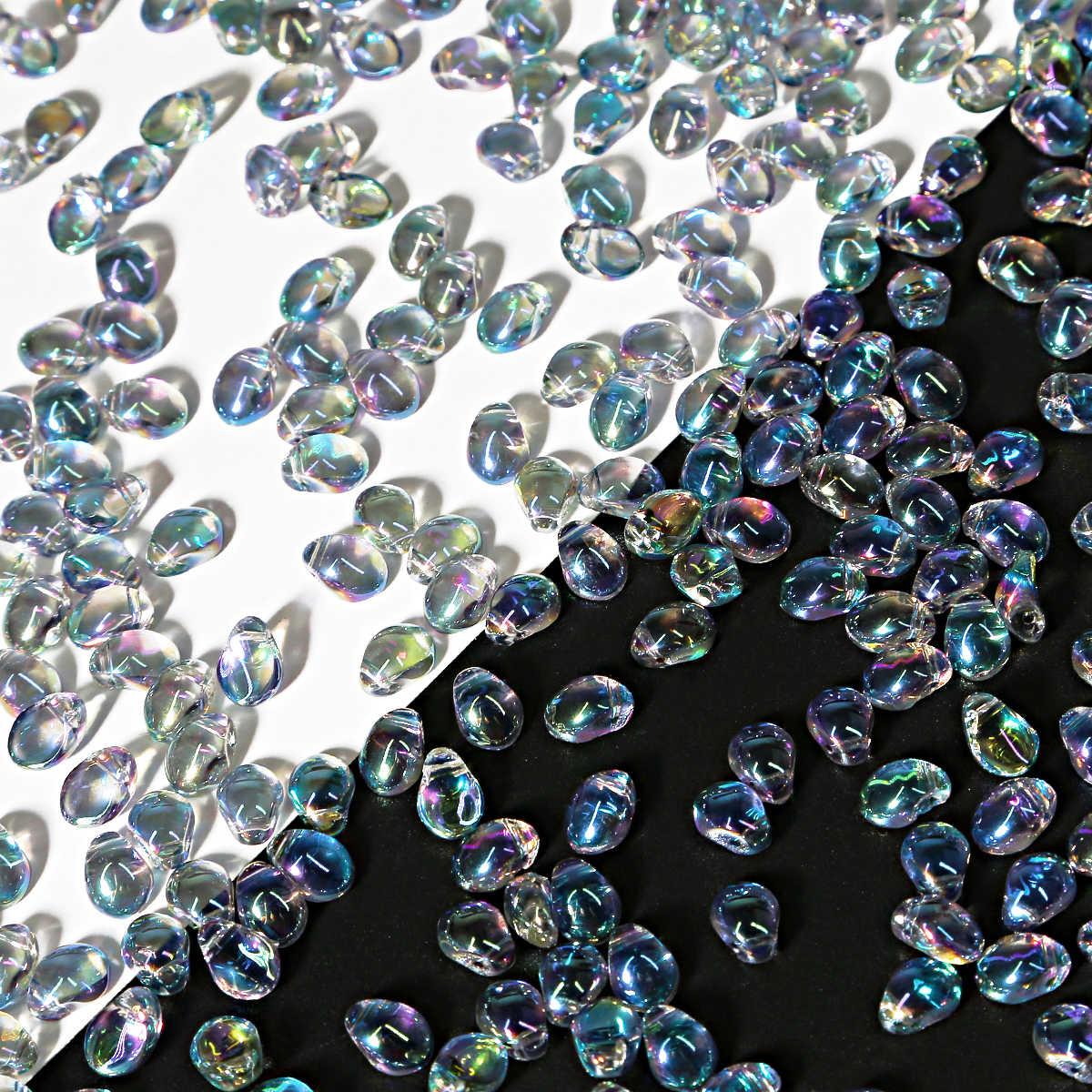 50 個 6*8 ミリメートル双円錐形クリスタルオーストリアビーズチャームため平滑なガラス水滴ビーズルーススペーサービーズジュエリーアクセサリーヘアピン Diy のジュエリーメイキング