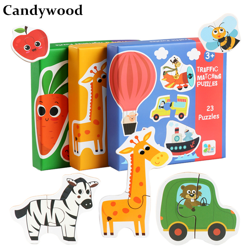 Candywood Wooden Toys Puzzles Jigsaw Animal /traffic /vegetables Big Piece Puzzle Baby Kids Early Learning Educational Games Superior Materials